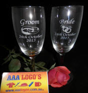 engraved bride and groom wedding glasses