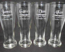 engraved beer glass