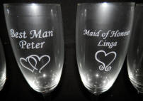 engraved wedding party champagne flutes