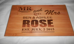 engraved wedding bamboo board